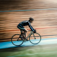 Active man on a velodrome